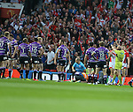 Wigan Warriors Ben Flower is sent off by referee Phil Bentham- First Utility Super League Grand Final - St Helens v Wigan Warriors - Old Trafford Stadium - Manchester - England - 11th October 2014 - Pic Paul Currie/Sportimage