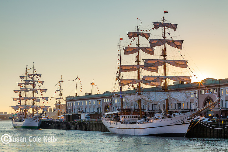 Tall ships before sunrise, Boston, Massachusetts, USA