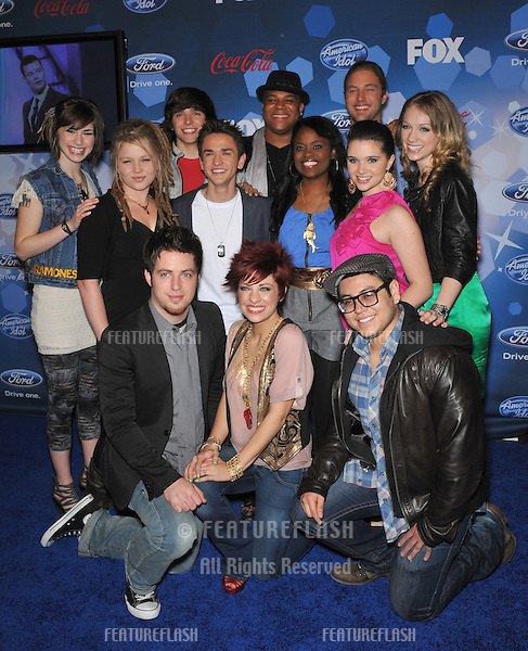 American Idol Final 12 contestants at the party for the American Idol Final 12 at Industry, Los Angeles..March 11, 2010  Los Angeles, CA.Picture: Paul Smith / Featureflash