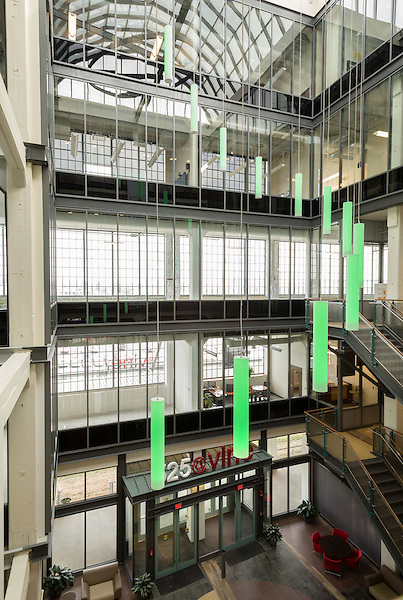February 18, 2015. Winston Salem, North Carolina.<br />  A view of the atrium of the 525 @ vine building, part of the Wake Forest Innovation Quarter. Since many of the original buildings on the site were so large, a lot of effort was sent getting natural light into the interiors of the renovated spaces.<br />  The Wake Forest Innovation Quarter, encompassing 145 developable acres, is an inner city development project focusing on biomedical sciences and information technology. The project is a collaboration between the city of Winston Salem, a private developer and Wake Forest University.The newest building in the $500 million project is a $50 million education building for the university's medical school. Many professional firms have moved into offices in the various buildings of the Innovation Quarter as the city shifts from a tobacco town to one of technological advancement.