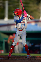 Clearwater Threshers Daniel Brito (21) at bat during a Florida State League game against the Dunedin Blue Jays on May 11, 2019 at Jack Russell Memorial Stadium in Clearwater, Florida.  Clearwater defeated Dunedin 9-3.  (Mike Janes/Four Seam Images)