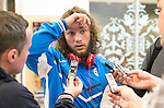 Spartak Trnava v St Johnstone...06.08.14  Europa League Qualifier 3rd Round<br /> Stevie May speaks to reporters at Edinburgh Airport prior to the flight to Bratislava.<br /> Picture by Graeme Hart.<br /> Copyright Perthshire Picture Agency<br /> Tel: 01738 623350  Mobile: 07990 594431