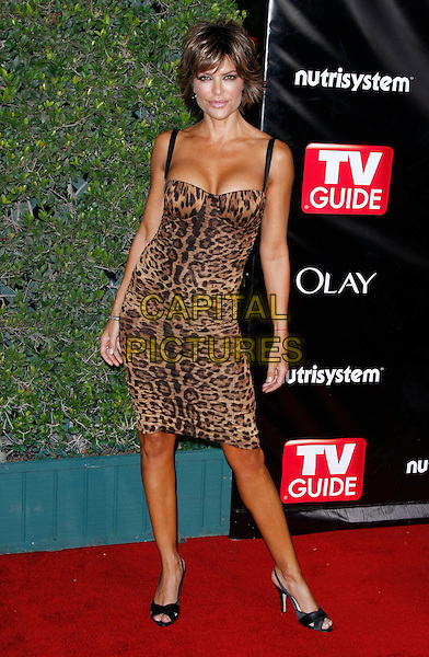 LISA RINNA .TV Guide Sixth Annual After Party Celebrating the 60th Annual Primetime Emmy Awards held at Kress, Los Angeles, California, USA, .21 September 2008..full length leopard print dress cleavage tight bustier shoes black slingbacks .CAP/ADM/MJT.©MJT/Admedia/Capital Pictures