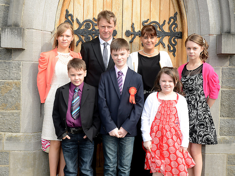 Brian McCabe who was confirmed at the Church of Mary Immaculate Collon pictured with parents Brian and Jean, brother Patrick and sisters Aoife, Shannon and Caoimhe. Photo:Colin Bell/pressphotos.ie