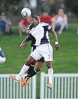 New England Revolution forward Kenny Mansally (7) heads the ball.    The New England Revolution defeated DC United 3-2 in US Open Cup match , at the Maryland SoccerPlex, Tuesday  April 26, 2011.