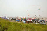 USA, Washington State, Long Beach Peninsula, International Kite Festival, the row of food and kite vendors at the kite festival