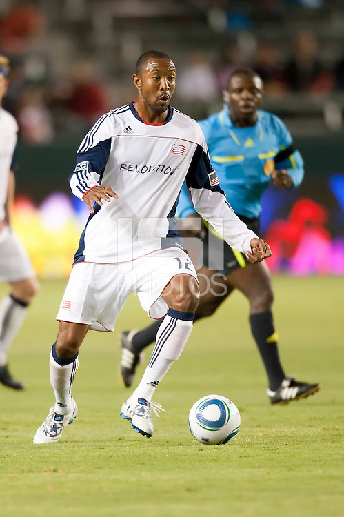 Revolution defender Cory Gibbs (12) moves the ball up the field during the first half of the game between Chivas USA and the New England Revolution at the Home Depot Center in Carson, CA, on September 10, 2010. Chivas USA 2, New England Revolution 0.