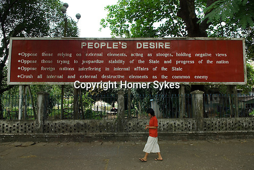 "Yangon Rangoon Myanmar Burma 2006. Government sign, ""People's Desire""."
