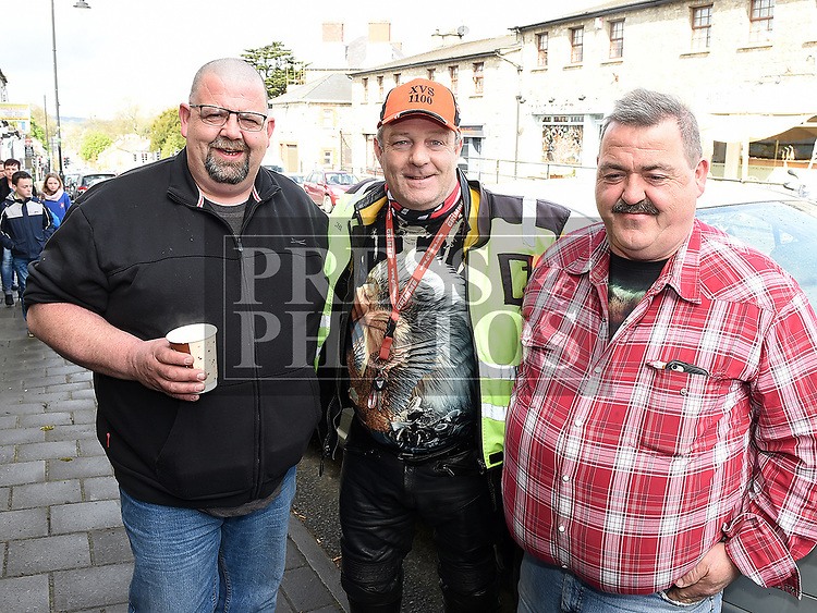 Paul Lane, Martin Byrne and Spuddy who took part in the Rory Smith memorial run in aid of SOSAD. Photo:Colin Bell/pressphotos.ie