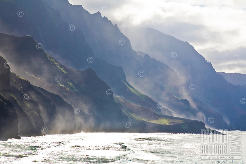 Sea mist against the cliffs of the Na Pali coast