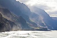 Sea mist against the cliffs of the Na Pali coast