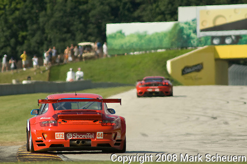 09 August 2008: Flying Lizard Motorsports Porsche 911 GT3 RSR, driven by Darren Law (USA) and Seth Neiman (USA), at the Generac 500  at Road America, Elkhart Lake, Wisconsin, USA.