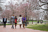 United States President Barack Obama, daughter Sasha, First Lady Michelle Obama and daughter Malia walk from the White House across Lafayette Park on their way to church at St John's Episcopal Church  in Washington, Sunday, March 31, 2013..Credit: Drew Angerer / Pool via CNP