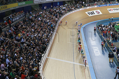 02.032016. Lee Valley Velo Centre, London England. UCI Track Cycling World Championships Men's scratch race Final. The riders take the front stretch