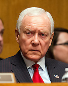 United States Senator Orrin Hatch (Republican of Utah), Ranking Member of the U.S. Senate Finance Committee listens to the testimony U.S. Secretary of Health and Human Services (HHS) Kathleen Sebelius during a hearing on the agency's FY 2013 budget proposal on Capitol Hill in Washington, D.C. on Wednesday, February 15, 2012..Credit: Ron Sachs / CNP
