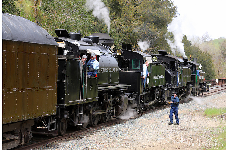Four steam locomotives at the Hearst siding in Sunol, California, as part of the annual Niles Canyon Railway Steamfest activities.