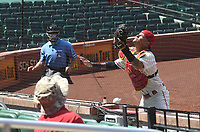 25th July 2020, St Louis, MO, USA;  St. Louis Cardinals catcher Yadier Molina (4) goes after a pop fly during a Major League Baseball game between the Pittsburgh Pirates and the St. Louis Cardinals