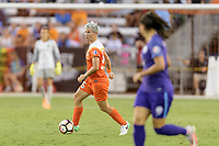 Houston, TX - Saturday June 17, 2017: Janine van Wyk looks to pass the ball during a regular season National Women's Soccer League (NWSL) match between the Houston Dash and the Orlando Pride at BBVA Compass Stadium.