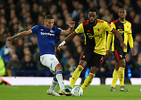 29th October 2019; Goodison Park, Liverpool, Merseyside, England; English Football League Cup, Carabao Cup Football, Everton versus Watford; Richarlison of Everton  and Nathaniel Chalobah of Watford compete for the ball  - Strictly Editorial Use Only. No use with unauthorized audio, video, data, fixture lists, club/league logos or 'live' services. Online in-match use limited to 120 images, no video emulation. No use in betting, games or single club/league/player publications