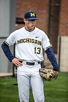 Michigan Wolverines outfielder Dominic Clementi (13) before the NCAA baseball game against the Michigan State Spartans on May 7, 2019 at Ray Fisher Stadium in Ann Arbor, Michigan. Michigan defeated Michigan State 7-0. (Andrew Woolley/Four Seam Images)