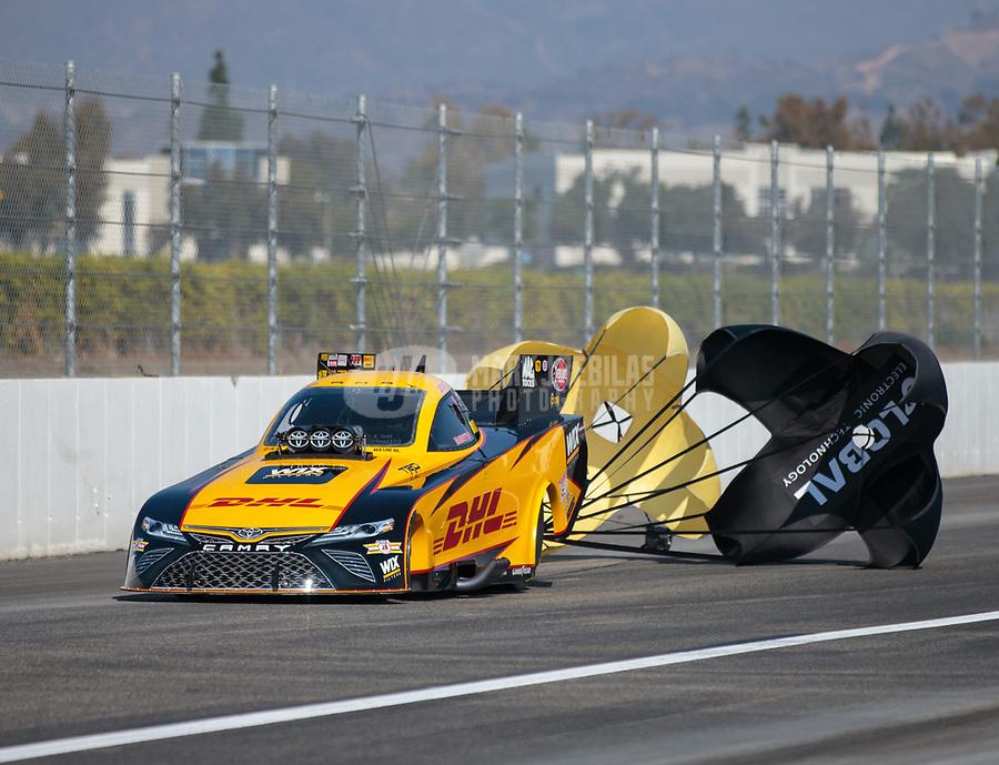 Nov 11, 2018; Pomona, CA, USA; NHRA funny car driver J.R. Todd during the Auto Club Finals at Auto Club Raceway. Mandatory Credit: Mark J. Rebilas-USA TODAY Sports