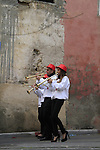 Israel, Tel Aviv-Yafo, marching bands playing at the Orthodox Christmas procession in Jaffa