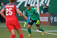 Portland, OR - Wednesday June 28, 2017: Adrianna Franch during a regular season National Women's Soccer League (NWSL) match between the Portland Thorns FC and FC Kansas City at Providence Park.