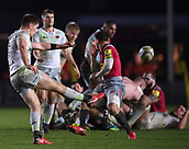 3rd December 2017, Twickenham Stoop, London, England; Aviva Premiership rugby, Harlequins versus Saracens; Owen Farrell of Saracens kicks to touch