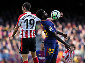 18th March 2018, Camp Nou, Barcelona, Spain; La Liga football, Barcelona versus Athletic Bilbao; Sabin Merino of Athletic Bilbao and Samuel Umtiti of FC Barcelona challenges for the aerial ball