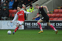 Fleetwood Town's Barrie McKay under pressure from Peterborough United's Josh Knight<br /> <br /> Photographer Kevin Barnes/CameraSport<br /> <br /> The EFL Sky Bet League One - Fleetwood Town v Peterborough United - Saturday 15th February 2020 - Highbury Stadium - Fleetwood<br /> <br /> World Copyright © 2020 CameraSport. All rights reserved. 43 Linden Ave. Countesthorpe. Leicester. England. LE8 5PG - Tel: +44 (0) 116 277 4147 - admin@camerasport.com - www.camerasport.com