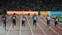 Usain BOLT (3rd Right) of Jamaica (Men's 100m) heads to his win in the Final during the Sainsburys Anniversary Games Athletics Event at the Olympic Park, London, England on 24 July 2015. Photo by Andy Rowland.