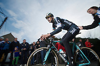 Tom Boonen (BEL/OPQS) getting 'a helping hand' up the Paterberg<br /> <br /> <br /> Dwars Door Vlaanderen 2014