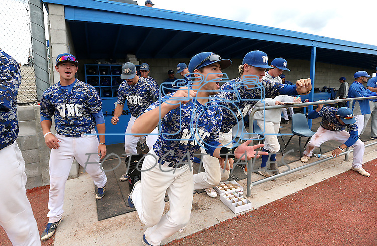 Western Nevada players celebrate a win against College of Southern Nevada at Western Nevada College in Carson City, Nev. on Friday, May 6, 2016. <br />Photo by Cathleen Allison/Nevada Photo Source