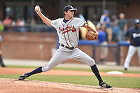 Rome Braves starting pitcher Chad Sobotka (32) delivers a pitch during a game against the Asheville Tourists on May 17, 2015 in Asheville, North Carolina. The Tourists defeated the Braves 9-8. (Tony Farlow/Four Seam Images)