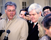United States House Majority Leader Dick Armey (Republican of Texas) and Speaker of the US House Newt Gingrich (Republican of Georgia) meet reporters at the White House in Washington, DC following their meeting with US President Bill Clinton and bipartisan and bicameral leaders on January 5, 1995.<br /> Credit: Ron Sachs / CNP