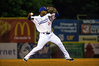 Miguel Sano (24) of the Chattanooga Lookouts throws during a game between the Jackson Generals and Chattanooga Lookouts at AT&T Field on May 8, 2015 in Chattanooga, Tennessee. (Brace Hemmelgarn/Four Seam Images)
