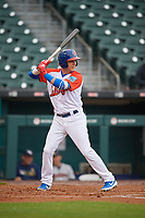 """Buffalo Bisons Andy Burns (9) at bat during an International League game against the Scranton/Wilkes-Barre RailRiders on June 5, 2019 at Sahlen Field in Buffalo, New York.  The Bisons wore special uniforms as they played under the name the """"Buffalo Wings"""". Scranton defeated Buffalo 3-0, the first game of a doubleheader. (Mike Janes/Four Seam Images)"""