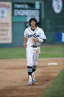 Austin Grebeck (3) of the Everett AquaSox runs the bases during a game against the Boise Hawks at Everett Memorial Stadium on July 20, 2017 in Everett, Washington. Everett defeated Boise, 13-11. (Larry Goren/Four Seam Images)