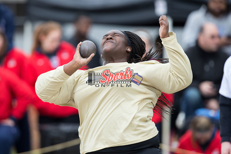 Andrea Vahoua of the Wake Forest Demon Deacons competes in the women's shot put at the Wake Forest Open on March 20, 2015 in Winston-Salem, North Carolina.  (Brian Westerholt/Sports On Film)