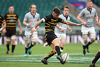 Matt Shepherd of Cornwall puts boot to ball. Bill Beaumont County Championship Division 1 Final between Cheshire and Cornwall on June 2, 2019 at Twickenham Stadium in London, England. Photo by: Patrick Khachfe / Onside Images