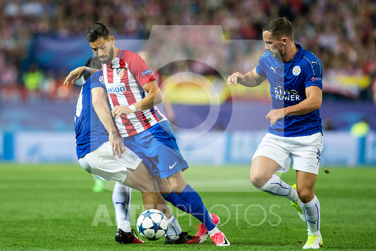 Shinji Okazaki of Leicester City Football Club competes for the ball with Yannick Ferreira Carrasco of Atletico de Madrid  during the match of  Champions LEague between  Atletico de Madrid and LEicester City Football Club at Vicente Calderon  Stadium  in Madrid, Spain. April 12, 2017. (ALTERPHOTOS / Rodrigo Jimenez)