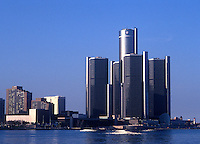 Renaissance Center on the Detroit River , Detroit, Michigan