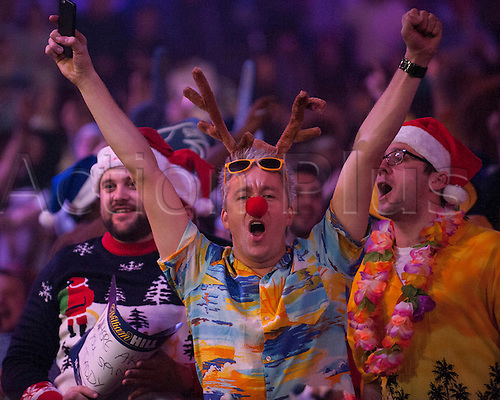 22.12.2014.  London, England.  William Hill PDC World Darts Championship.  Darts fans at the 2015 William Hill World Darts Championship.