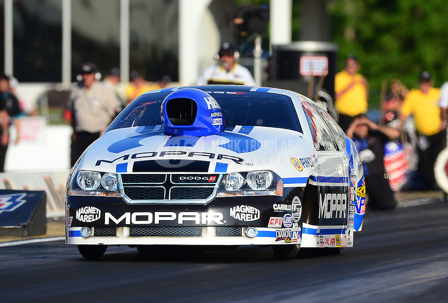 May 4, 2012; Commerce, GA, USA: NHRA pro stock driver Allen Johnson during qualifying for the Southern Nationals at Atlanta Dragway. Mandatory Credit: Mark J. Rebilas-