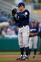 Chris Dwyer (28) of the Northwest Arkansas Naturals on the mound during a game against the Springfield Cardinals on May 13, 2011 at Hammons Field in Springfield, Missouri.  Photo By David Welker/Four Seam Images.