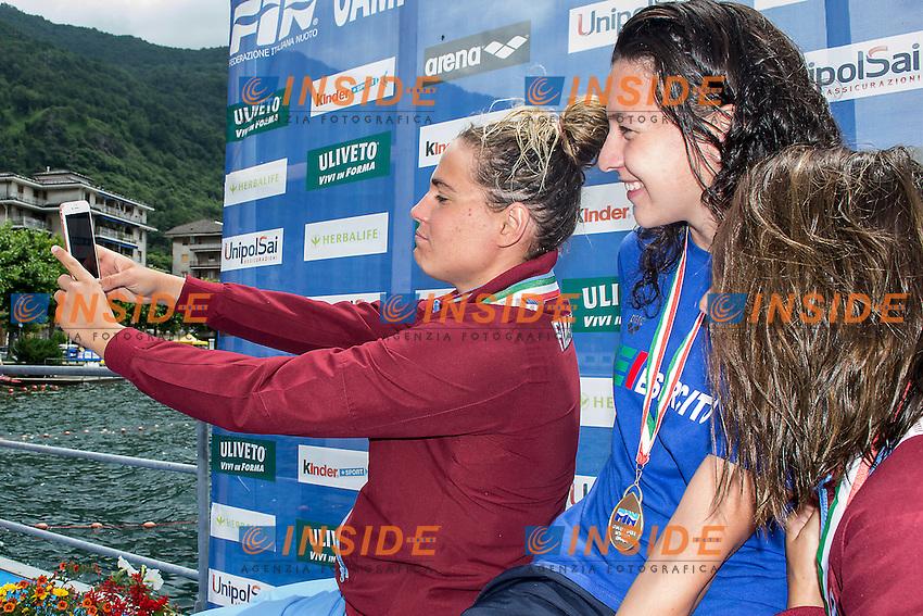 10 km donne <br /> da sinistra sul podio Martina Grimaldi Fiamme Oro, Arianna Bridi Esercito, Aurora Ponsele Fiamme Oro<br /> Omegna (Verbania), Lago D'Orta<br /> FIN 2016 Campionato Italiano Assoluto Nuoto di Fondo <br /> <br /> Day 02 11-06-2016<br /> Photo Laura Binda/Deepbluemedia/Insidefoto