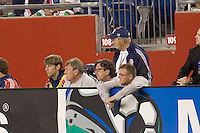 New England Revolution head coach Steve Nicol watches calmly during the first half. The New England Revolution defeated the Colorado Rapids, 1-0, at Gillette Stadium in Foxboro, MA on September 29, 2007.