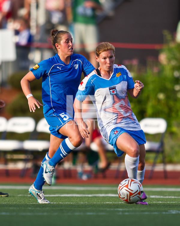 Chicago Red Stars midfielder/forward Lori Chalupny (17) breaks with Boston Breakers forward Amanda DaCosta (5) in pursuit.  The Boston Breakers beat the Chicago Red Stars 1-0 at Dilboy Stadium.