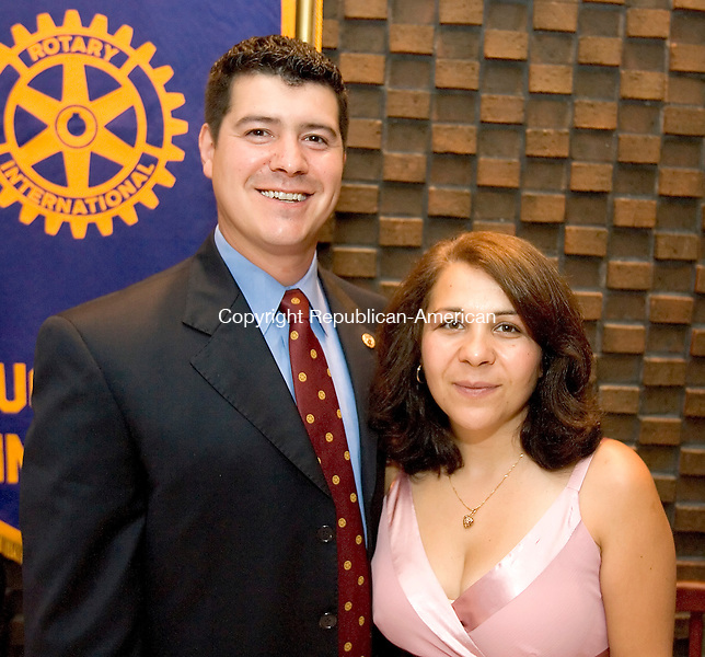 WATERBURY, CT--27 JUNE 2007--062707JS02-Marcelo Martins, the incoming Rotary Secetary with his wife Alexandra Martins at the Naugatuck Rotary Club's annual meeting at the Waterbury Club.<br /> Jim Shannon/Republican-American