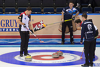 Glasgow. SCOTLAND.  Last &quot;Stone in the Scotland vs Switzerland, &quot;Round Robin&quot; Game. Le Gruy&egrave;re European Curling Championships. 2016 Venue, Braehead  Scotland<br /> Monday  21/11/2016<br /> <br /> [Mandatory Credit; Peter Spurrier/Intersport-images]